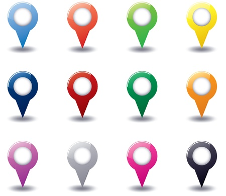 Set of different color 3D round map pointers Stock Vector - 17728399