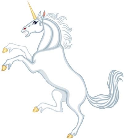 Cartoon white unicorn reared up Stock Vector - 17728386