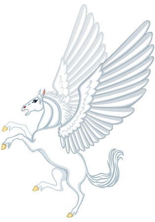 rear wing: Cartoon image of a winged white horse Pegasus Illustration