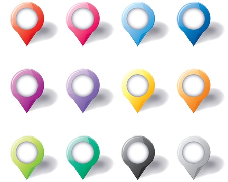 Set of different color 3D round map pointers Stock Vector - 17728389