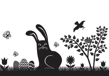 Easter woodcut with bunny, Easter eggs and spring flowers Vector