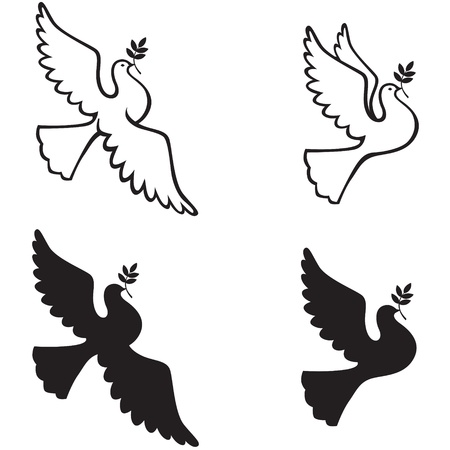 Contour and silhouette dove with a branch Vector