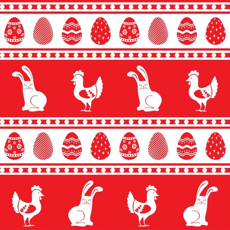 Seamless ornament pattern of Easter eggs, bunny and hen Vector