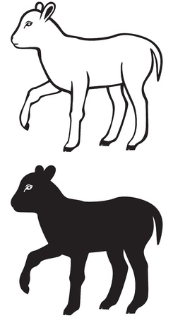 Black-and-white contour and silhouette image of a small lamb Vector