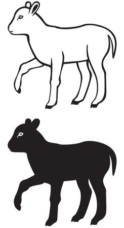 lamb: Contorno bianco e nero e l'immagine silhouette di un piccolo agnello Vettoriali