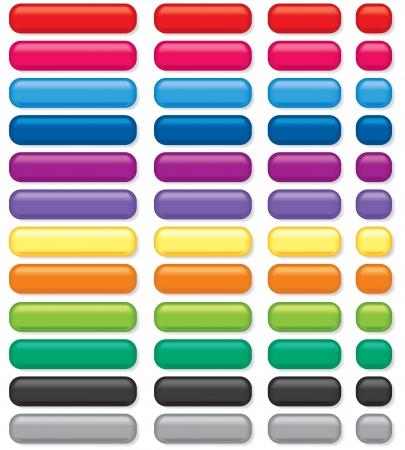 3D rechteckige Tasten in verschiedenen Farben und Größen Standard-Bild - 17904461