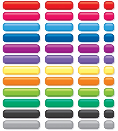 square buttons: 3D rectangular buttons of various colors and sizes