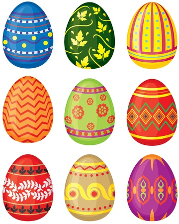 egg: Set of color painted Easter eggs. Vector illustration. No transparency.