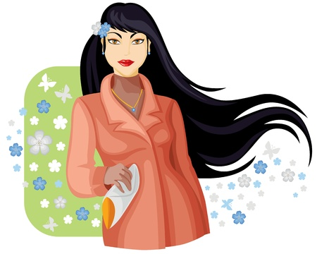 clothes cartoon: Beautiful lady with long black hair in spring coat in surrounded spring flowers. Vector illustration Illustration