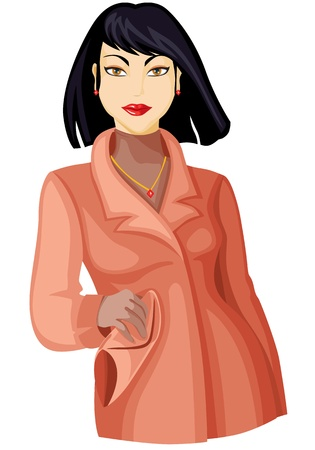 spring coat: Beautiful lady with black hair in spring coat