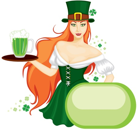 A girl in a green hat and a green dress holding a tray with a mug of ale. Congratulations to the St. Patricks Day Vector