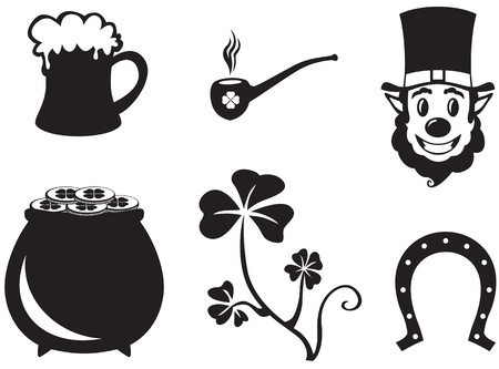 Set of silhouette images of St. Patricks Day Vector