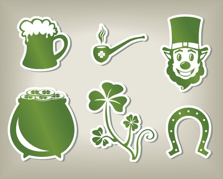 Set of green icon images of St. Patricks Day Vector
