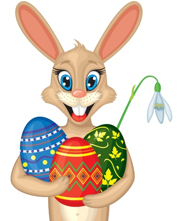 Cute cartoon Easter bunny portrait with Easter eggs and snowdrop Vector