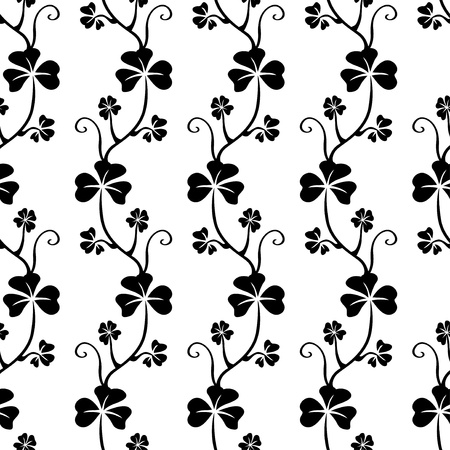 Black and white seamless pattern with clover  Vector