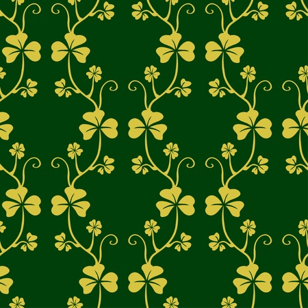 Seamless pattern with clover on dark green background Vector