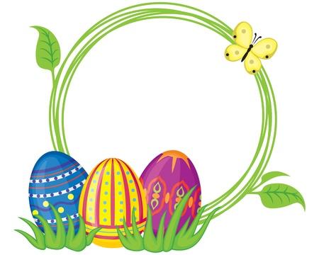 Saluto cornice con uova di Pasqua e di erba Archivio Fotografico - 18128894
