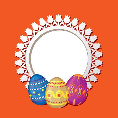 Greeting frame with Easter eggs and ornament pattern Stock Vector - 18128898