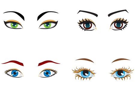 blue eyes girl: A set of female eyes of different shapes and colors Illustration
