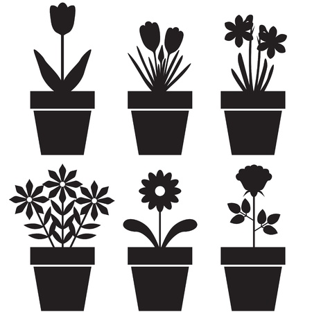 pot: Set of silhouettes of flowers in pots Illustration