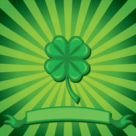 Congratulatory background with four-leaf clover and green congratulatory ribbon Vector