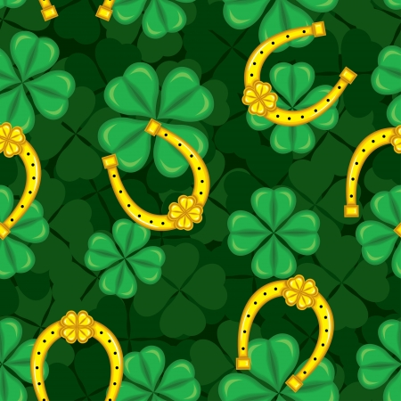 Seamless pattern with clover and horseshoe St. Patricks Day Vector