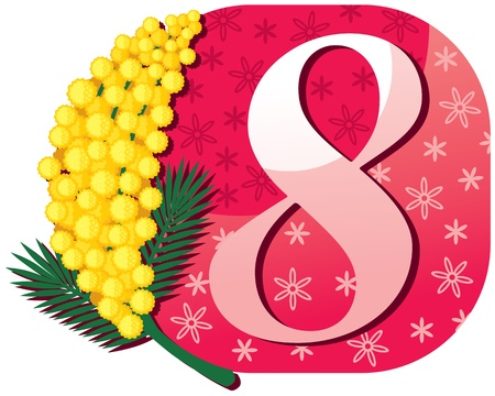mimosa: 8 March congratulatory card with mimosa
