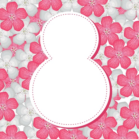 8 March congratulatory background with pink and white flower