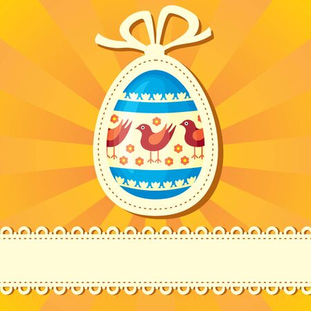 Easter congratulatory background with painted Easter egg Vector