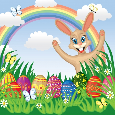 Easter congratulatory background with painted Easter eggs, Easter bunny on grass Vector
