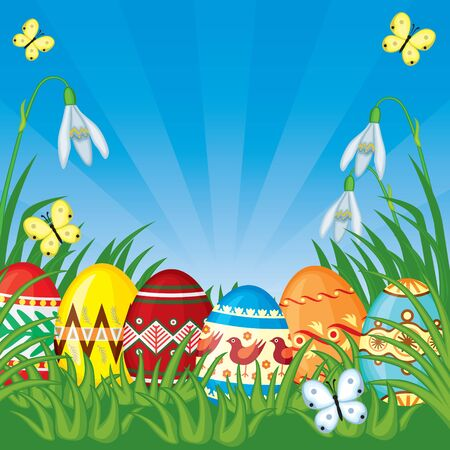 Easter congratulatory background with painted Easter eggs on grass Vector