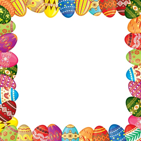 Frame of multicolor painted Easter eggs Çizim
