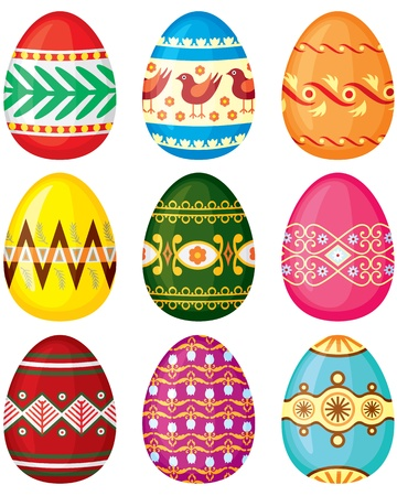 Set of color painted Easter eggs  Vector illustration  No transparency  Illustration