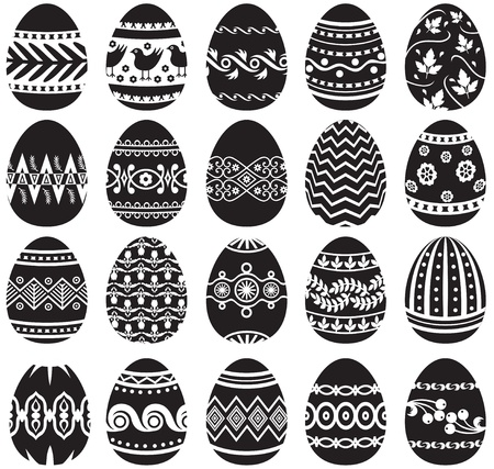 Set of black and white painted Easter eggs