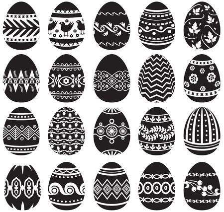 Set von schwarzen und weißen Ostereier Standard-Bild - 18224667