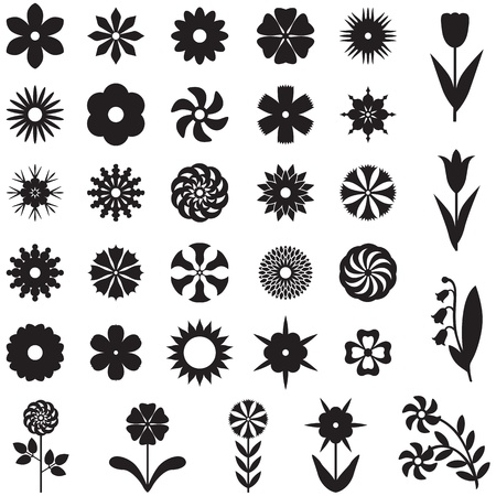 Set of 33 silhouette images of different flowers Stock Vector - 18224658