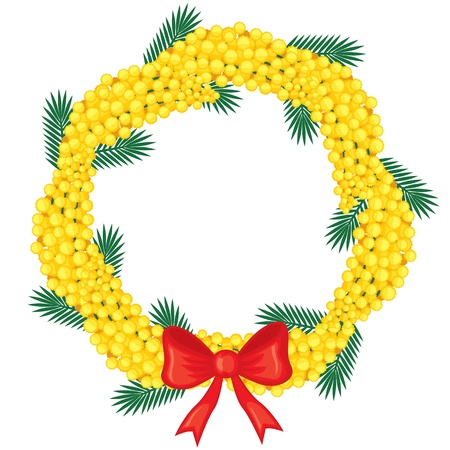 Wreath of flowering branches of mimosa with a red bow Vector