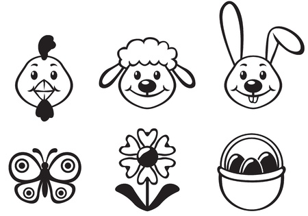 Easter cartoon funny set with bunny, chicken, lamb and flower Vector
