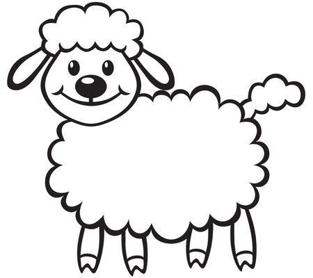 image lamb: Cartoon contour image cute little lamb