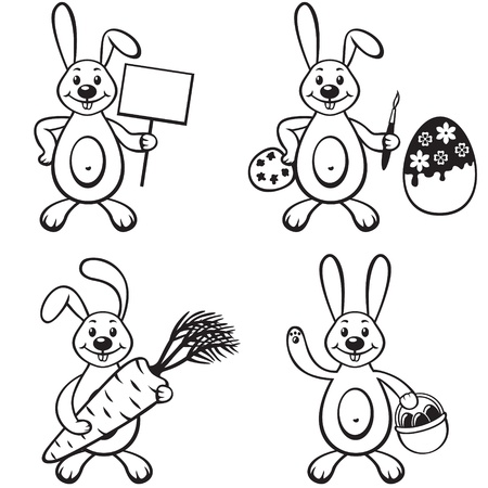 Set contour image of cartoon bunny Vector