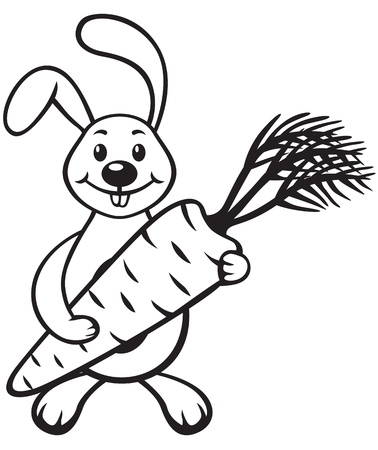 Contour image of cartoon bunny with carrot in paws  Vector