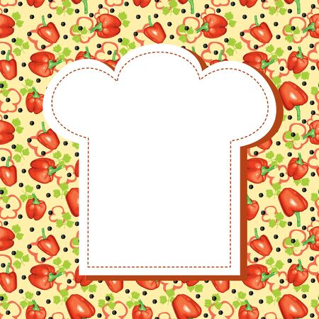 Background for the menu of bitter, sweet pepper and parsley, and a blank space in a chefs hat for text Vector