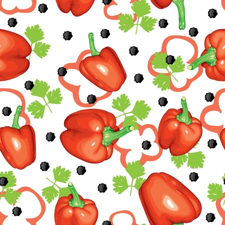 Seamless pattern of bitter and sweet pepper and parsley Vector