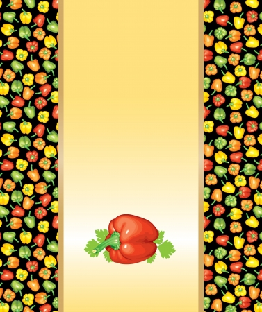 Background for vegetarian menu with multicolor peppers and leaf parsley Stock Vector - 18419973