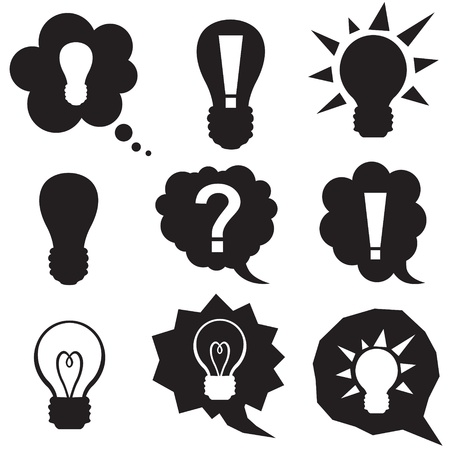 Set silhouette speech bubbles with symbol idea and lightbulb