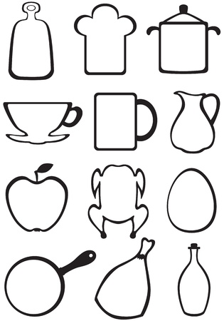 Set of kitchen contour image with kitchenware and food Illustration