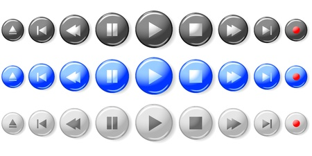 press button: Set of media player control buttons   Illustration