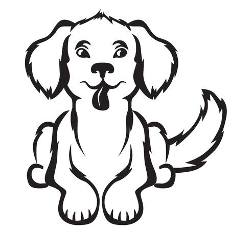 barking: Cartoon contorno immagine carino piccolo cucciolo