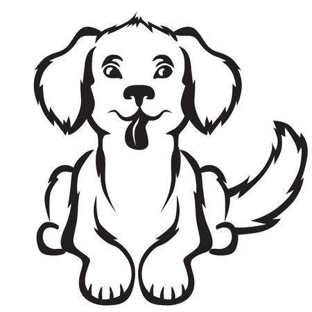 puppies: Cartoon contour image cute little puppy