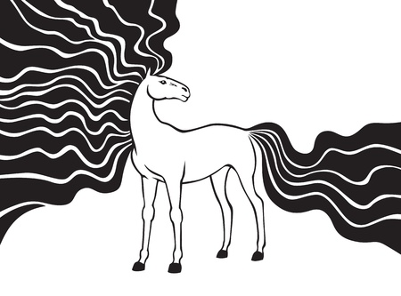 Contour image of beautiful horse with long fluttering mane and tail Vector
